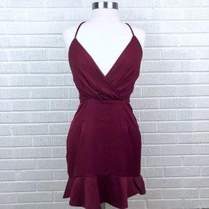 NBD Cross Back Peplum Burgundy Red Dress Medium M